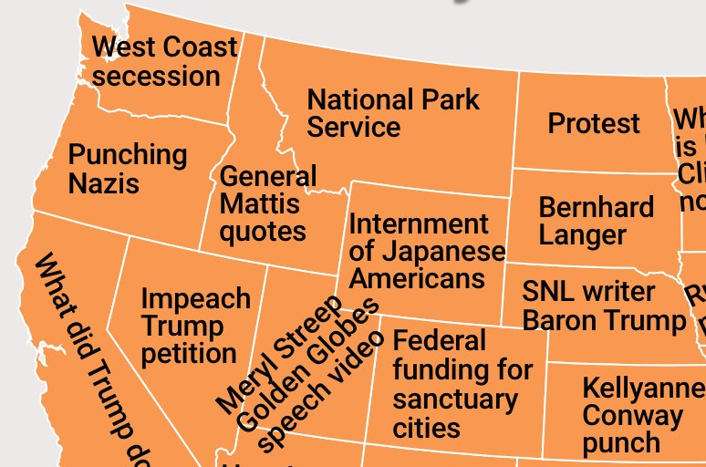 What Each State Googled More Frequently Than Any Other State Since - Us protest map vs voter map