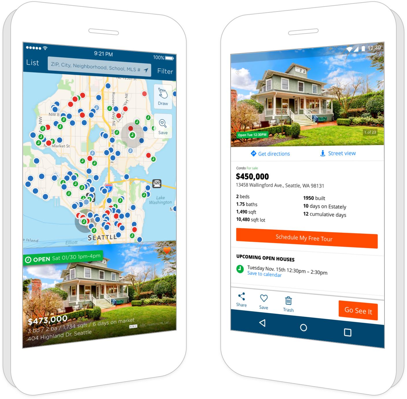 Get our award-winning real estate apps for iOS and Android