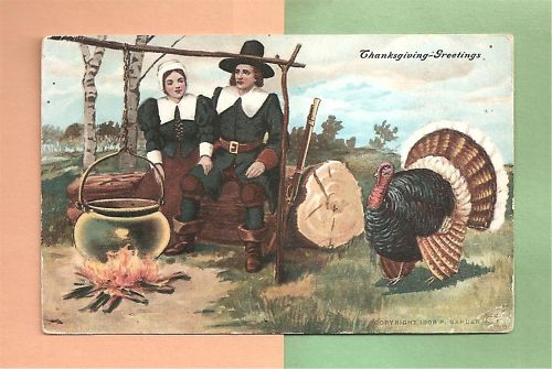 PILGRIM-COUPLE-TURKEY-On-Colorful-Vintage-THANKSGIVING-Postcard