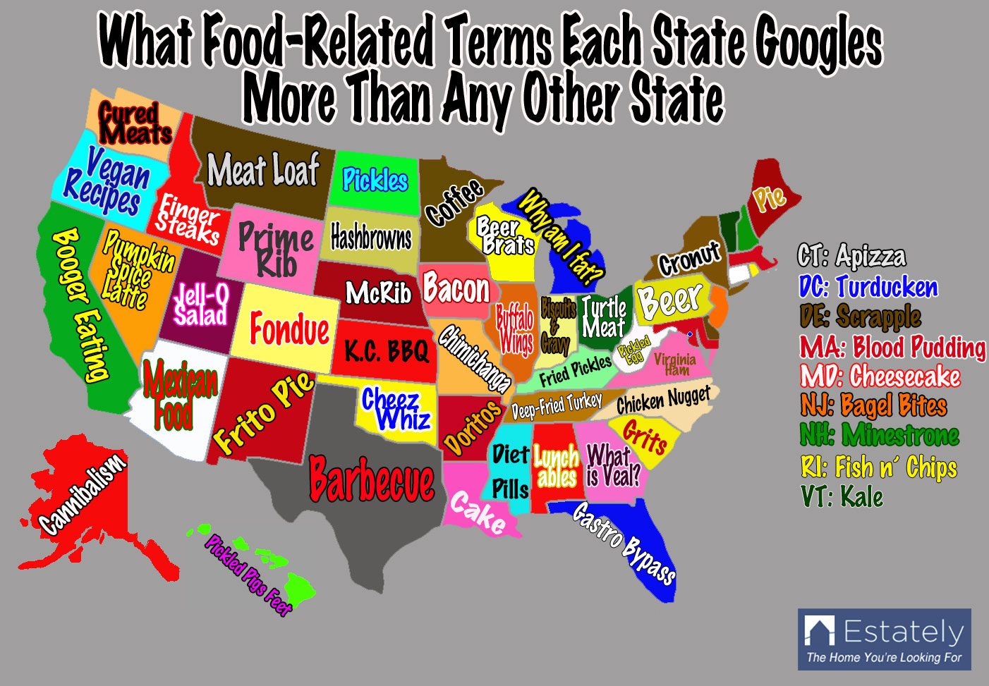 Each US States Food Preferences Based On Its Internet Search - Us internet speed map